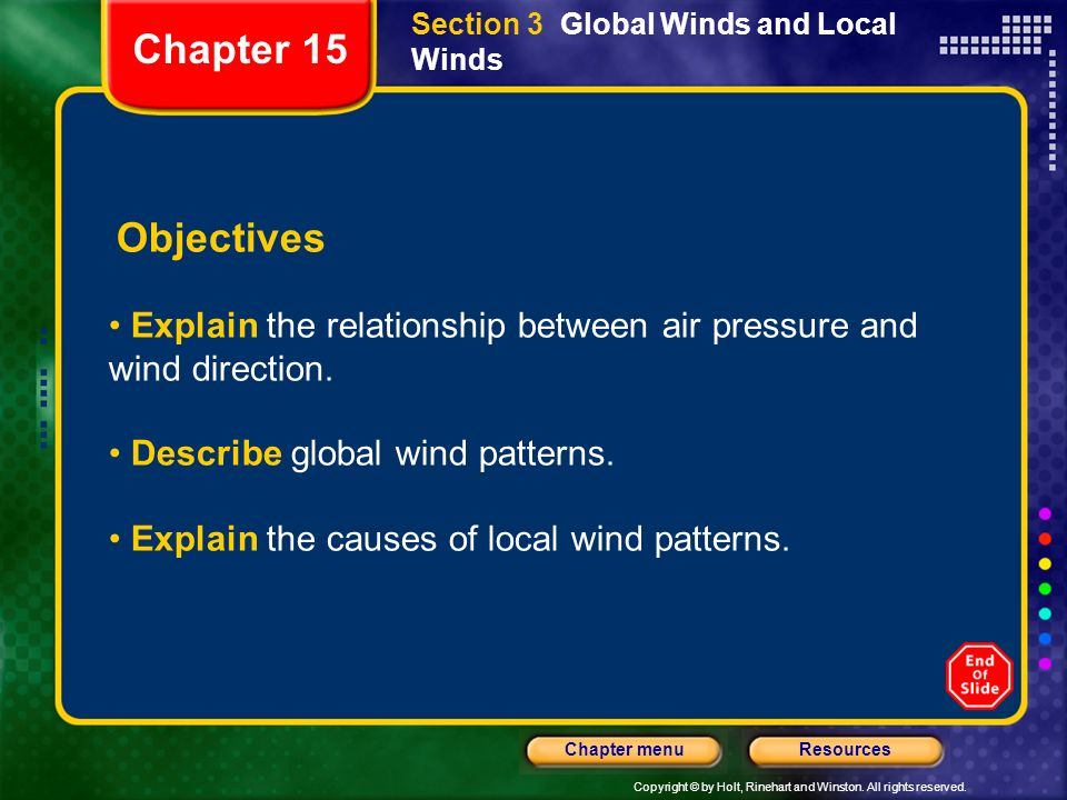 Copyright © by Holt, Rinehart and Winston. All rights reserved. ResourcesChapter menu Section 3 Global Winds and Local Winds Objectives Explain the re