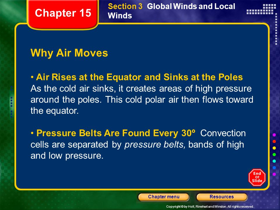 Copyright © by Holt, Rinehart and Winston. All rights reserved. ResourcesChapter menu Section 3 Global Winds and Local Winds Why Air Moves Air Rises a