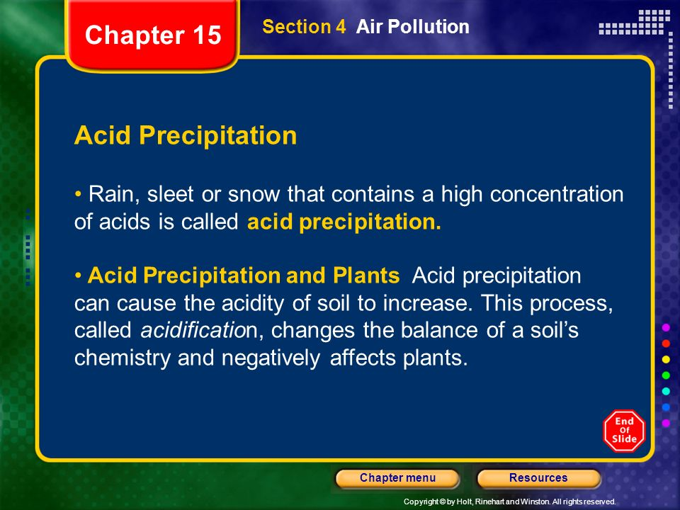 Copyright © by Holt, Rinehart and Winston. All rights reserved. ResourcesChapter menu Section 4 Air Pollution Acid Precipitation Rain, sleet or snow t