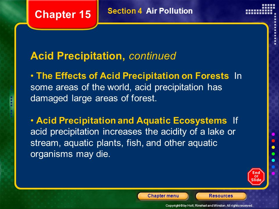 Copyright © by Holt, Rinehart and Winston. All rights reserved. ResourcesChapter menu Section 4 Air Pollution Acid Precipitation, continued The Effect