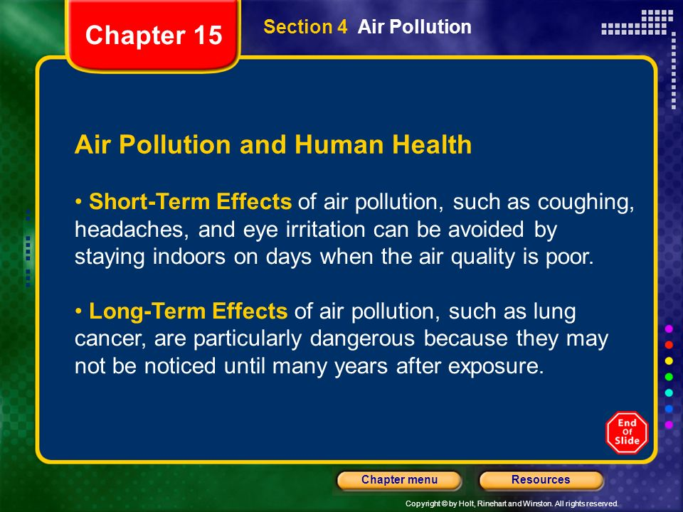 Copyright © by Holt, Rinehart and Winston. All rights reserved. ResourcesChapter menu Section 4 Air Pollution Air Pollution and Human Health Short-Ter