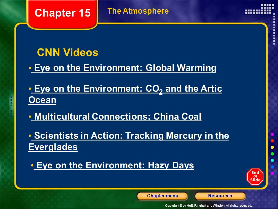 Copyright © by Holt, Rinehart and Winston. All rights reserved. ResourcesChapter menu CNN Videos Eye on the Environment: Global Warming Eye on the Env