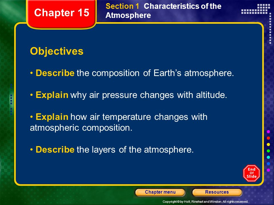 Copyright © by Holt, Rinehart and Winston. All rights reserved. ResourcesChapter menu Section 1 Characteristics of the Atmosphere Objectives Describe