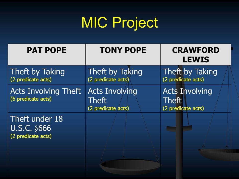 MIC Project PAT POPETONY POPECRAWFORD LEWIS Theft by Taking (2 predicate acts) Theft by Taking (2 predicate acts) Theft by Taking (2 predicate acts) A
