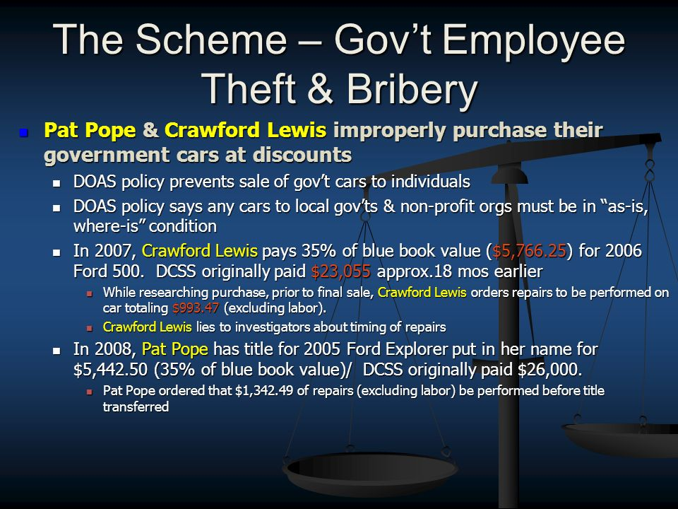 The Scheme – Govt Employee Theft & Bribery Pat Pope & Crawford Lewis improperly purchase their government cars at discounts Pat Pope & Crawford Lewis
