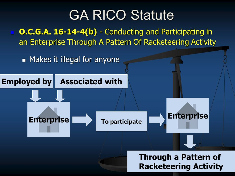 GA RICO Statute O.C.G.A. 16-14-4(b) - Conducting and Participating in an Enterprise Through A Pattern Of Racketeering Activity O.C.G.A. 16-14-4(b) - C