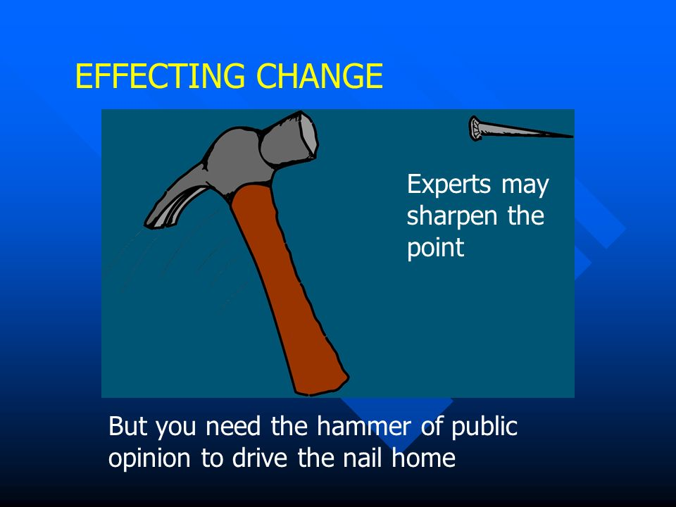 EFFECTING CHANGE Experts may sharpen the point But you need the hammer of public opinion to drive the nail home