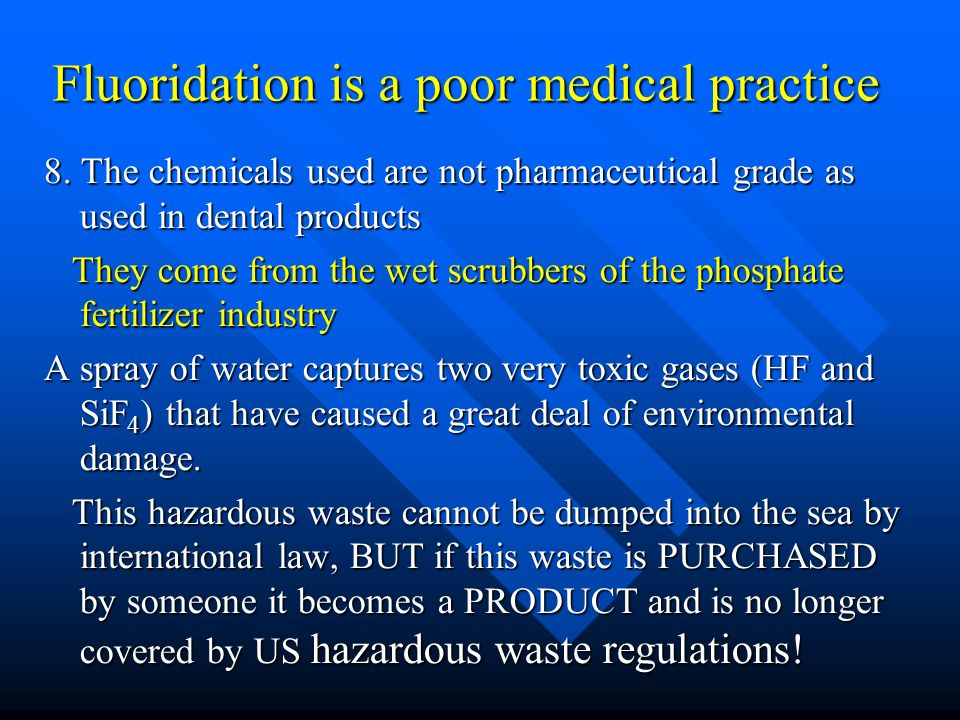 MY RESPONSE I argue that by coming clean and stopping their support for fluoridation (switching to promoting TOPICAL treatments and investing in education for a better diet) health agencies (like NZ MOH) would improve their credibility and begin to regain the publics trust.