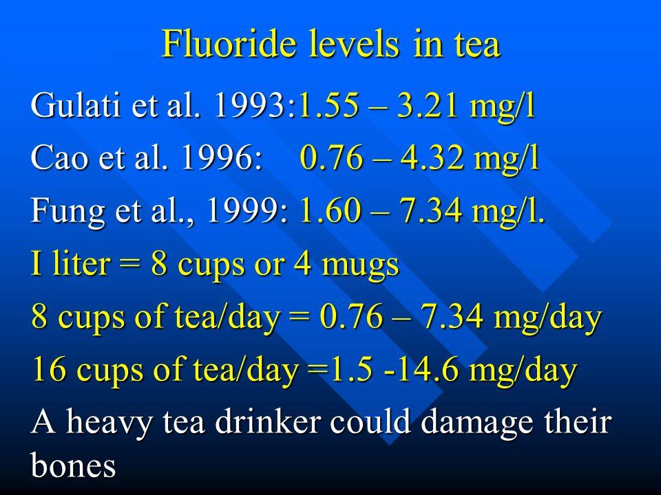 Fluoride levels in tea Gulati et al. 1993:1.55 – 3.21 mg/l Cao et al. 1996: 0.76 – 4.32 mg/l Fung et al., 1999: 1.60 – 7.34 mg/l. I liter = 8 cups or
