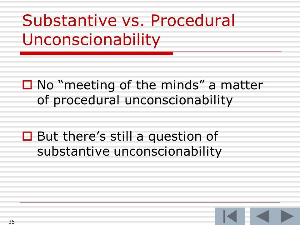 35 Substantive vs. Procedural Unconscionability No meeting of the minds a matter of procedural unconscionability But theres still a question of substa