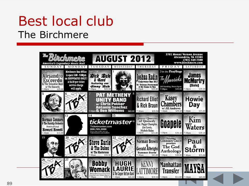 Best local club The Birchmere 89