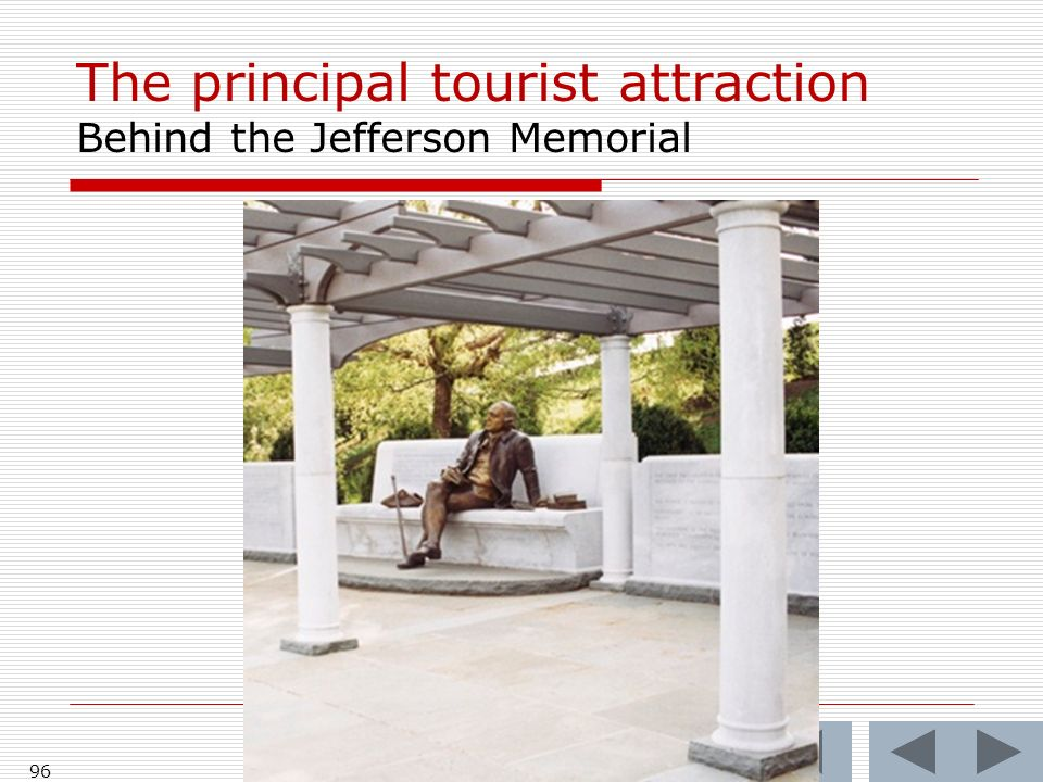 The principal tourist attraction Behind the Jefferson Memorial 96
