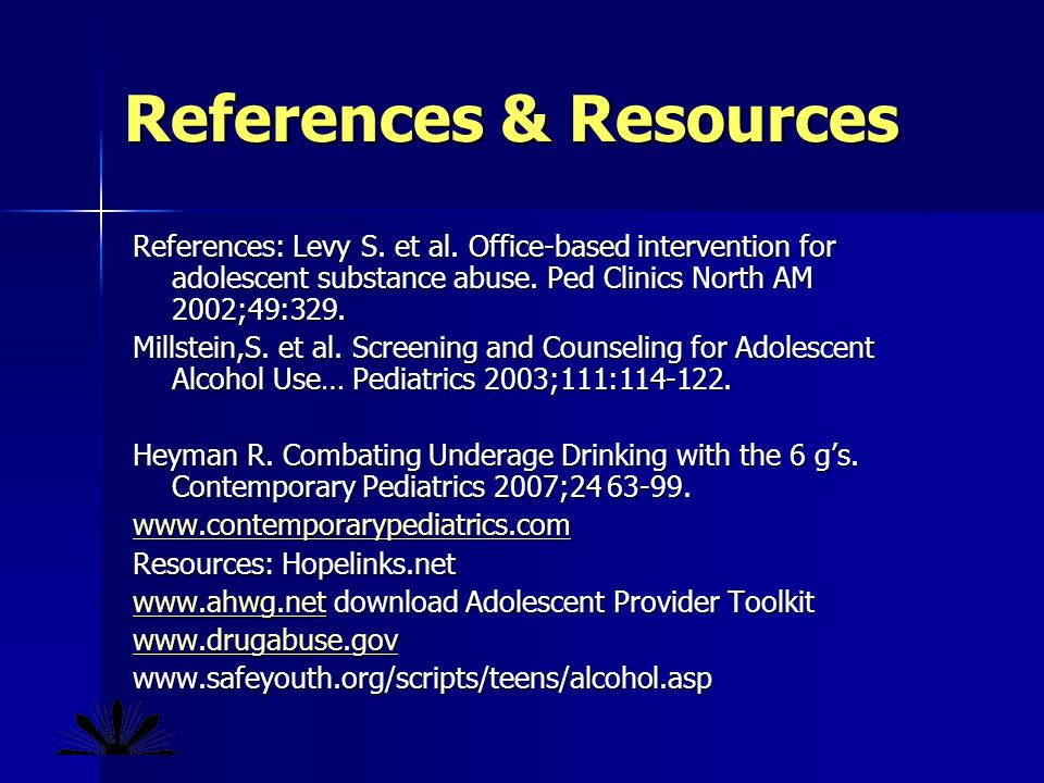 References & Resources References: Levy S. et al.