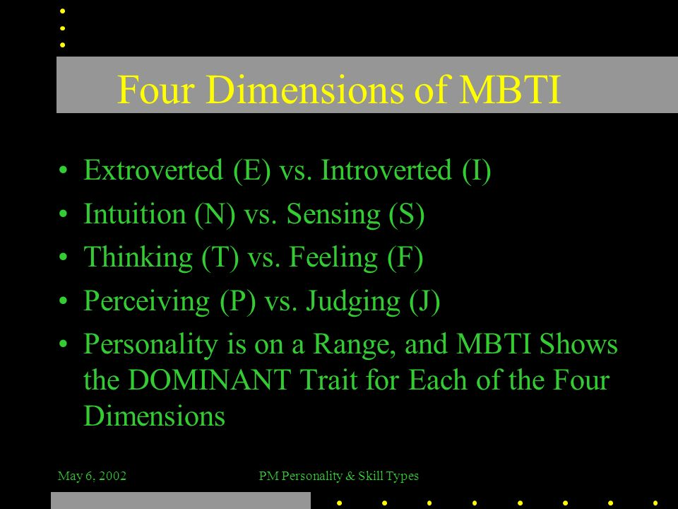 May 6, 2002PM Personality & Skill Types Four Dimensions of MBTI Extroverted (E) vs. Introverted (I) Intuition (N) vs. Sensing (S) Thinking (T) vs. Fee