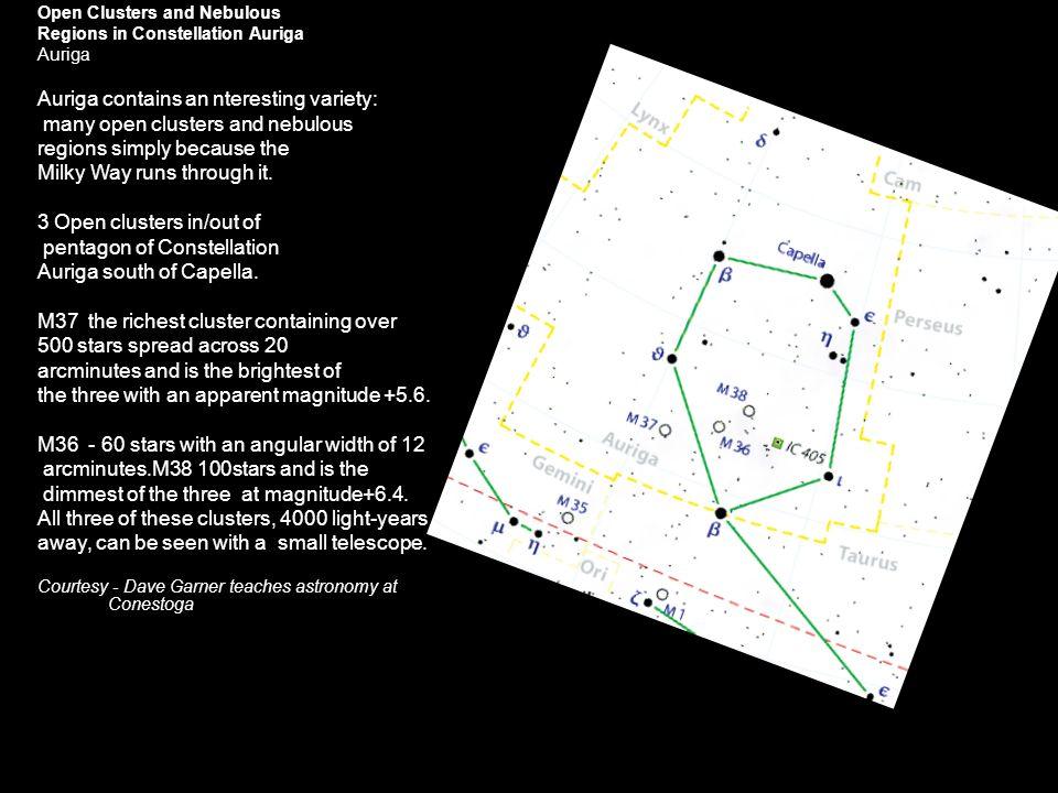 Open Clusters and Nebulous Regions in Constellation Auriga Auriga Auriga contains an nteresting variety: many open clusters and nebulous regions simpl
