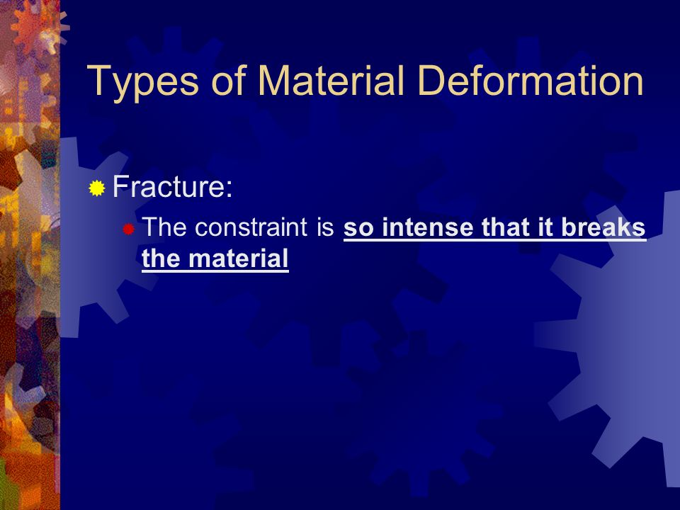 Types of Material Deformation Fracture: The constraint is so intense that it breaks the material