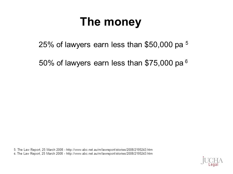 25% of lawyers earn less than $50,000 pa 5 50% of lawyers earn less than $75,000 pa 6 5.