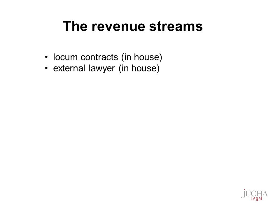 locum contracts (in house) external lawyer (in house) The revenue streams