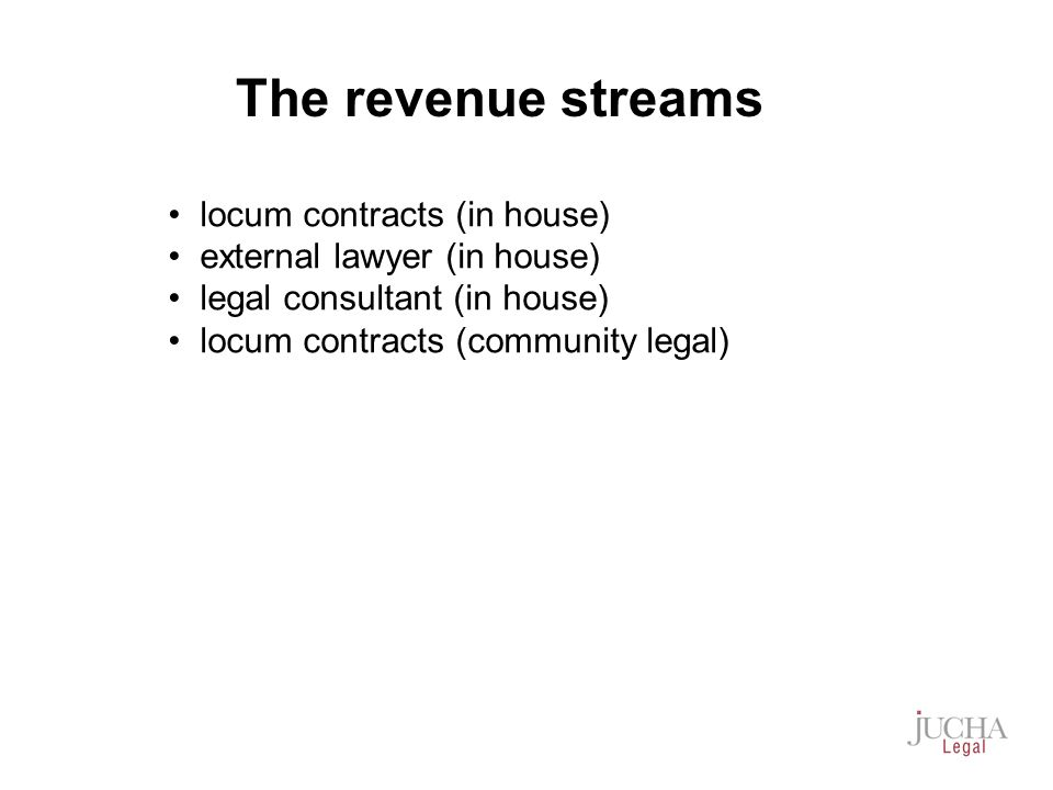 locum contracts (in house) external lawyer (in house) legal consultant (in house) locum contracts (community legal) The revenue streams
