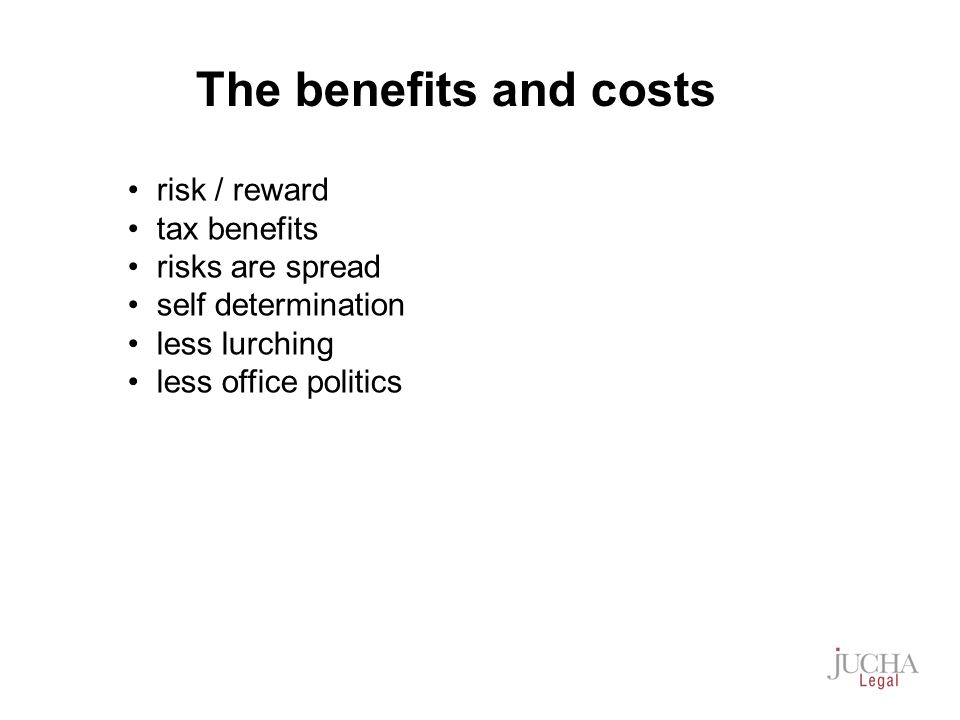 risk / reward tax benefits risks are spread self determination less lurching less office politics The benefits and costs