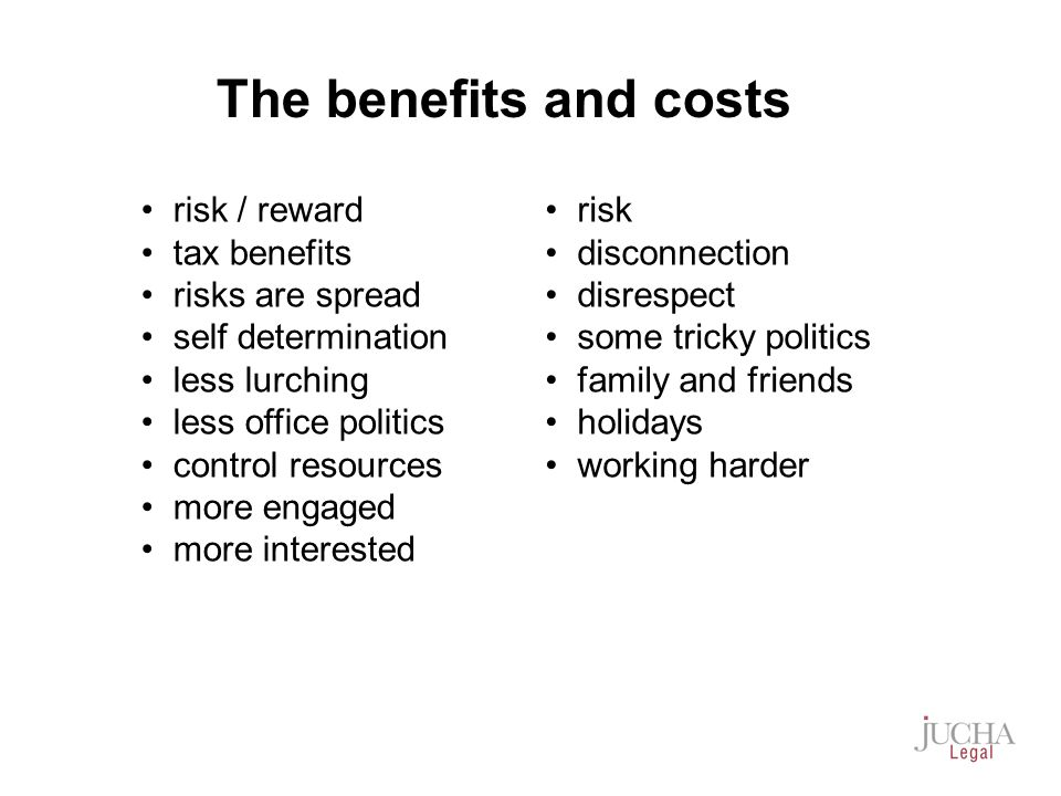 risk / reward tax benefits risks are spread self determination less lurching less office politics control resources more engaged more interested risk disconnection disrespect some tricky politics family and friends holidays working harder The benefits and costs