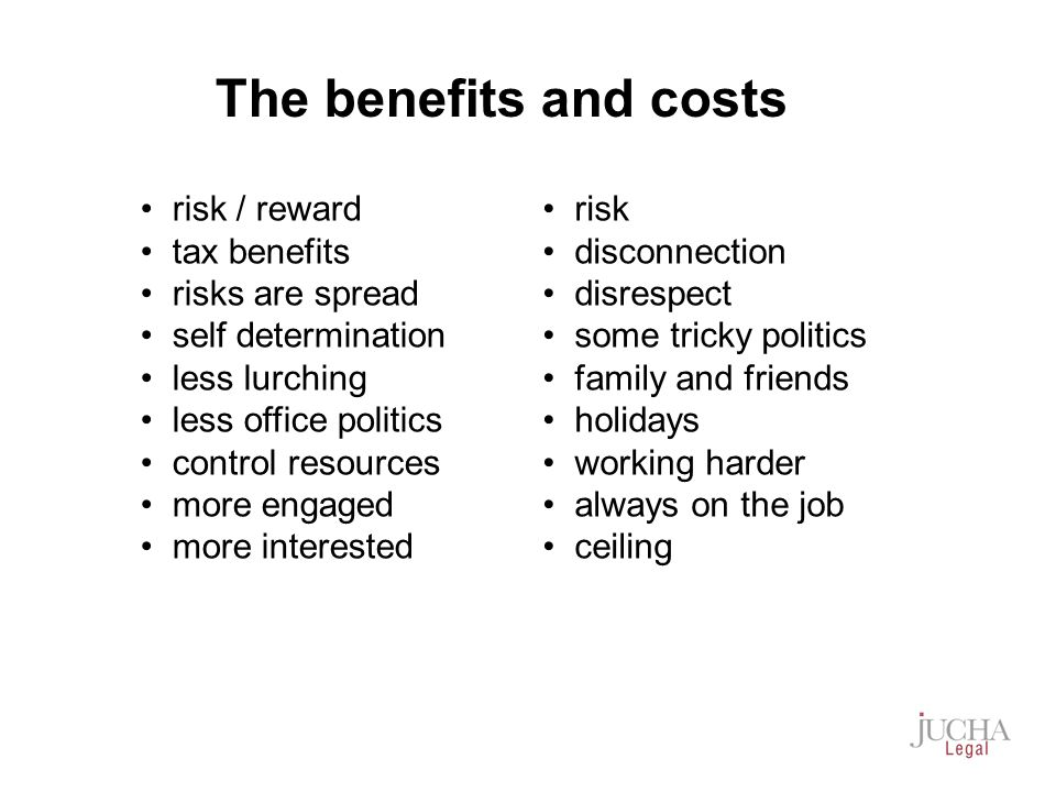 risk / reward tax benefits risks are spread self determination less lurching less office politics control resources more engaged more interested risk disconnection disrespect some tricky politics family and friends holidays working harder always on the job ceiling The benefits and costs