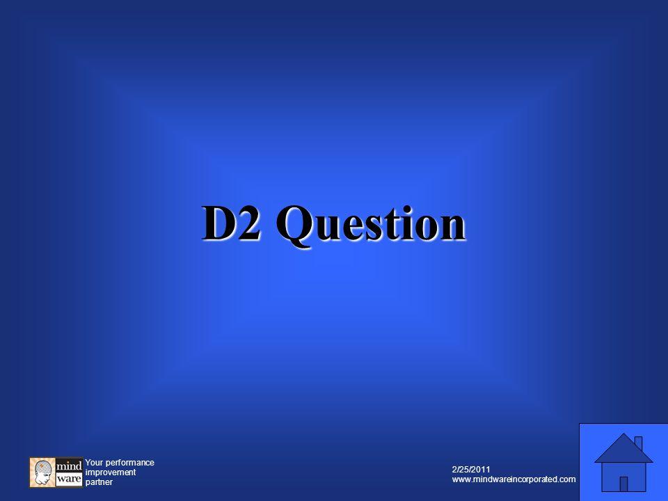 Your performance improvement partner 2/25/2011 www.mindwareincorporated.com D2 Prompt D2 Prompt