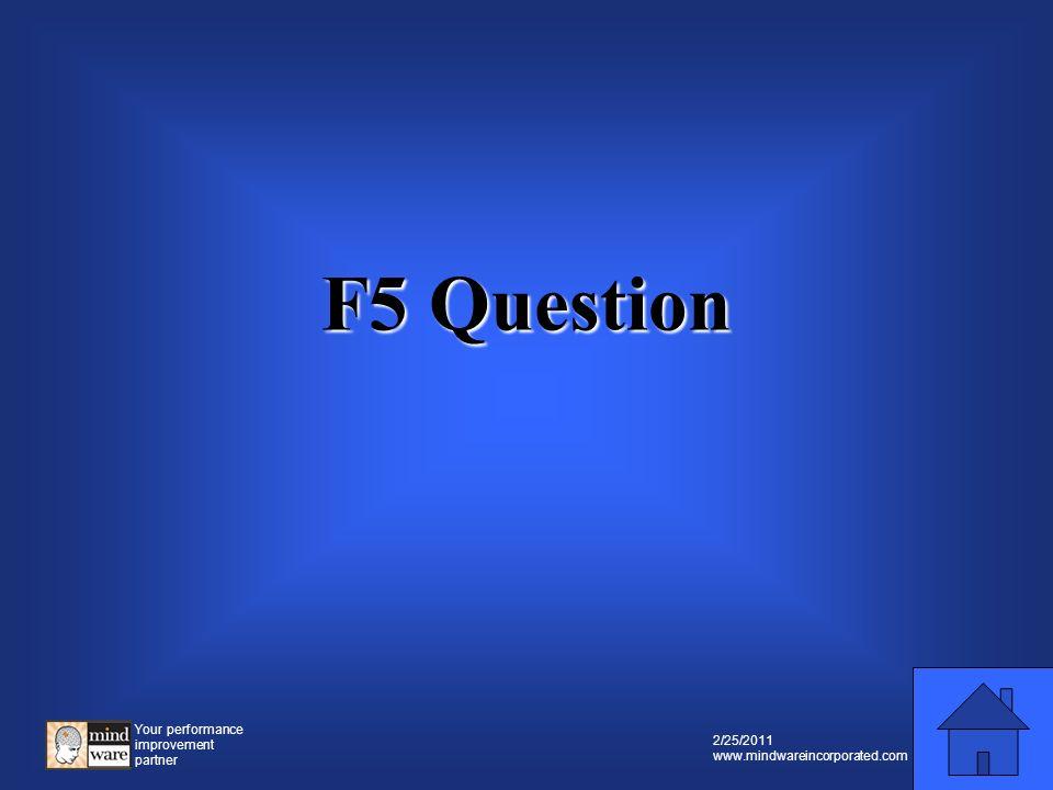 Your performance improvement partner 2/25/2011 www.mindwareincorporated.com F5 Prompt F5 Prompt