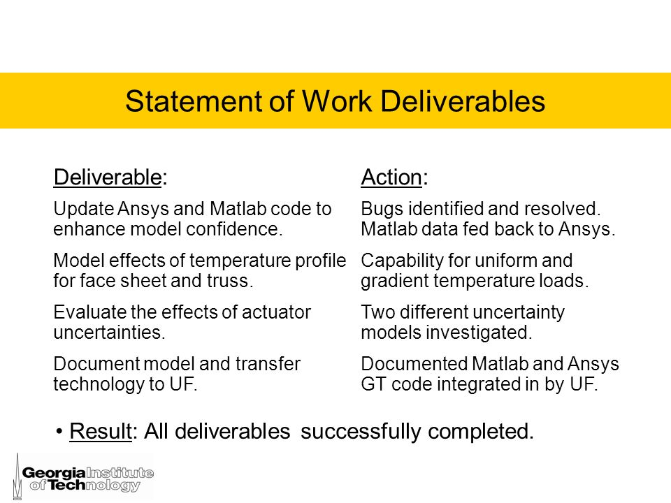 Statement of Work Deliverables Deliverable:Action: Update Ansys and Matlab code to enhance model confidence. Bugs identified and resolved. Matlab data