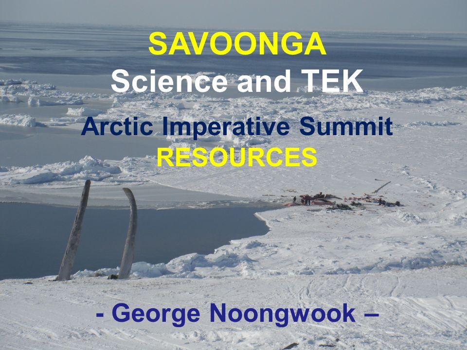 SAVOONGA Science and TEK Arctic Imperative Summit RESOURCES - George Noongwook –