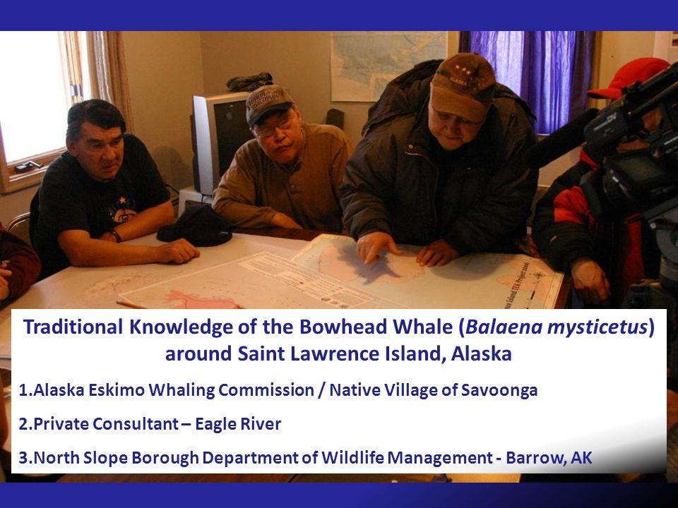 Traditional Knowledge of the Bowhead Whale (Balaena mysticetus) around Saint Lawrence Island, Alaska 1.Alaska Eskimo Whaling Commission / Native Villa