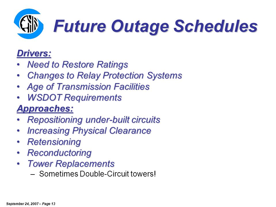 September 24, 2007 – Page 13 Future Outage Schedules Drivers: Need to Restore RatingsNeed to Restore Ratings Changes to Relay Protection SystemsChanges to Relay Protection Systems Age of Transmission FacilitiesAge of Transmission Facilities WSDOT RequirementsWSDOT RequirementsApproaches: Repositioning under-built circuitsRepositioning under-built circuits Increasing Physical ClearanceIncreasing Physical Clearance RetensioningRetensioning ReconductoringReconductoring Tower ReplacementsTower Replacements –Sometimes Double-Circuit towers!
