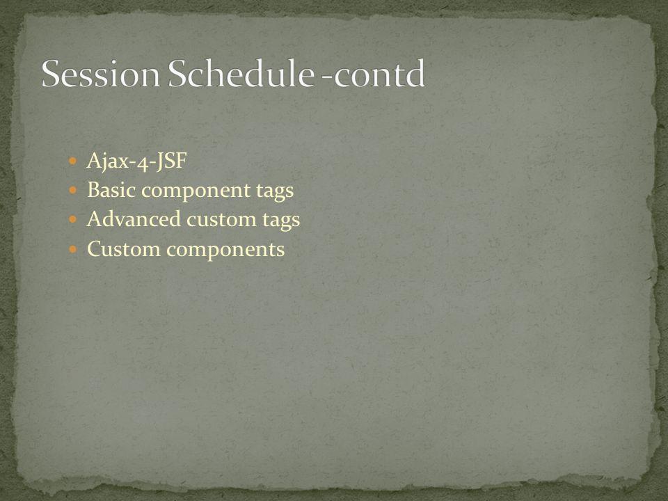 Ajax-4-JSF Basic component tags Advanced custom tags Custom components