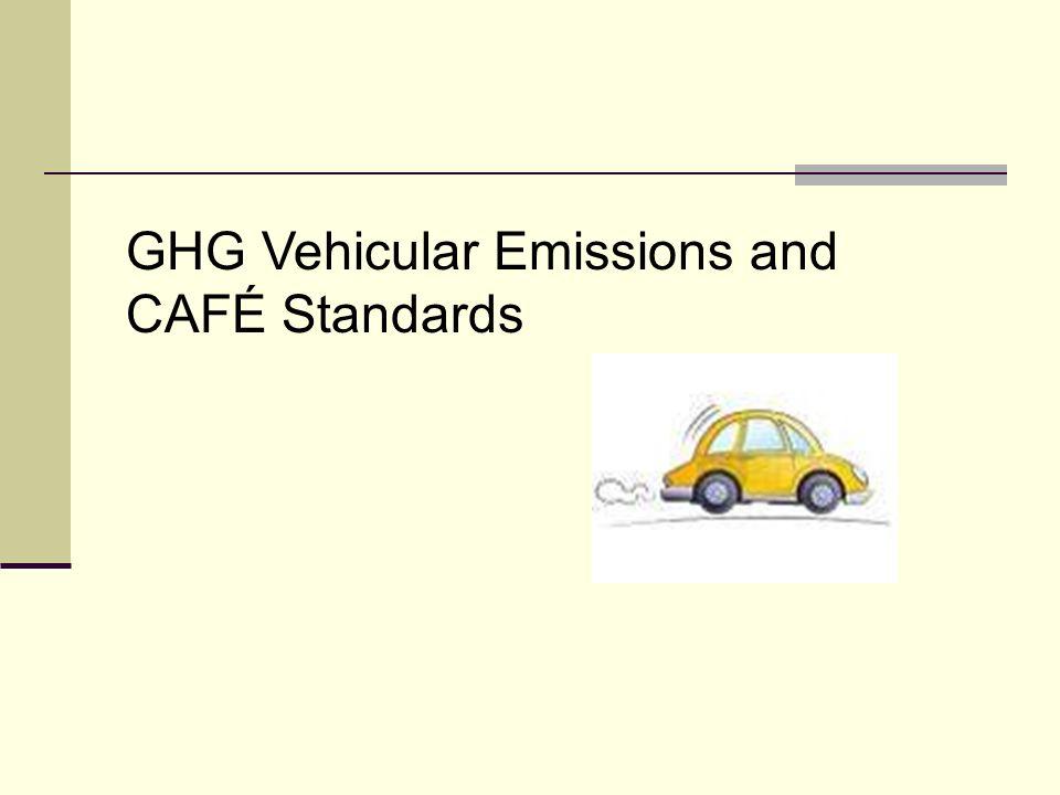 GHG Vehicular Emissions and CAFÉ Standards