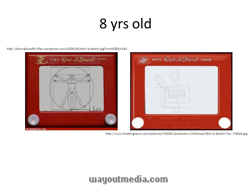 8 yrs old http://shewalkssoftly.files.wordpress.com/2009/06/etch-a-sketch.jpg?w=450&h=345 http://www.freakingnews.com/pictures/74500/Leonardo-s-Childh