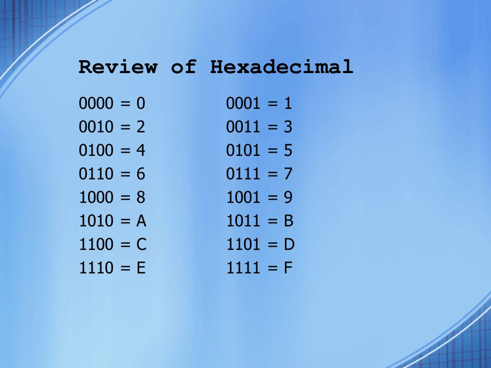 Review of Hexadecimal 0000 = 00001 = 1 0010 = 20011 = 3 0100 = 40101 = 5 0110 = 60111 = 7 1000 = 81001 = 9 1010 = A1011 = B 1100 = C1101 = D 1110 = E1