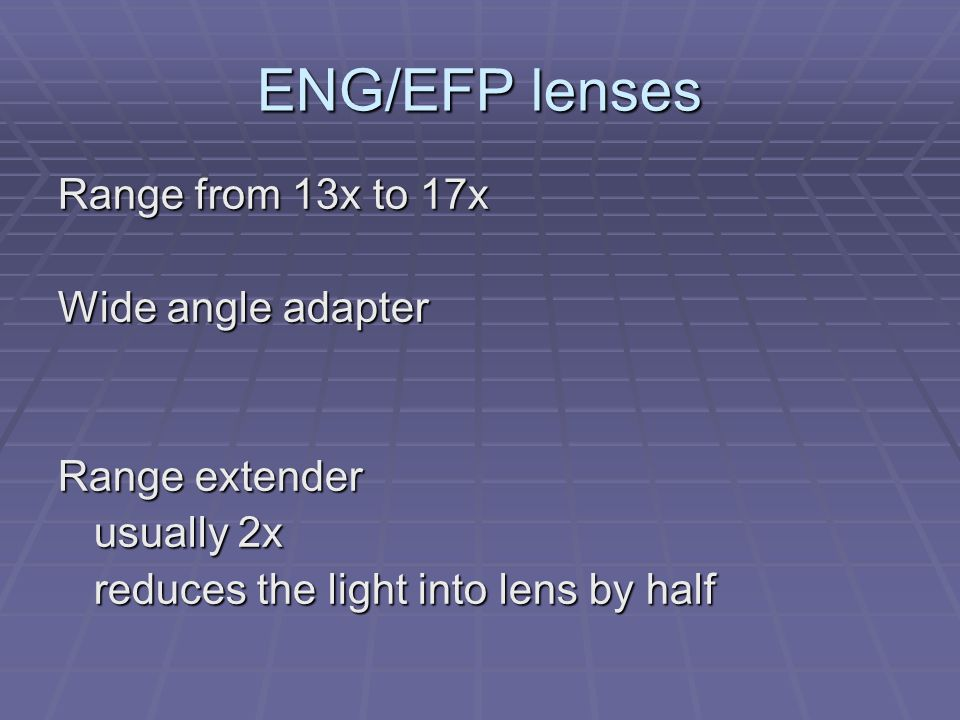 Optical Characteristics Focal length Focus Light transmission iris and f-stop Depth of field