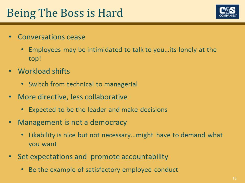 13 Conversations cease Employees may be intimidated to talk to you…its lonely at the top! Workload shifts Switch from technical to managerial More dir