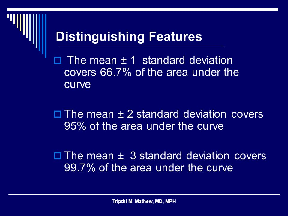 Tripthi M. Mathew, MD, MPH Distinguishing Features The mean ± 1 standard deviation covers 66.7% of the area under the curve The mean ± 2 standard devi