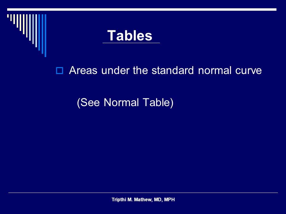 Tripthi M. Mathew, MD, MPH Tables Areas under the standard normal curve (See Normal Table)
