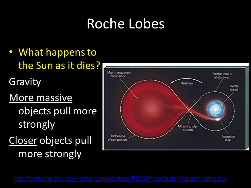 Roche Lobes What happens to the Sun as it dies.