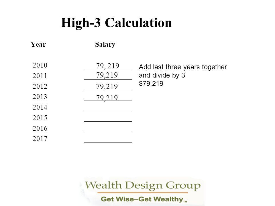 High-3 Calculation Year Salary 2010_____________ 2011_____________ 2012_____________ 2013_____________ 2014_____________ 2015_____________ 2016_______