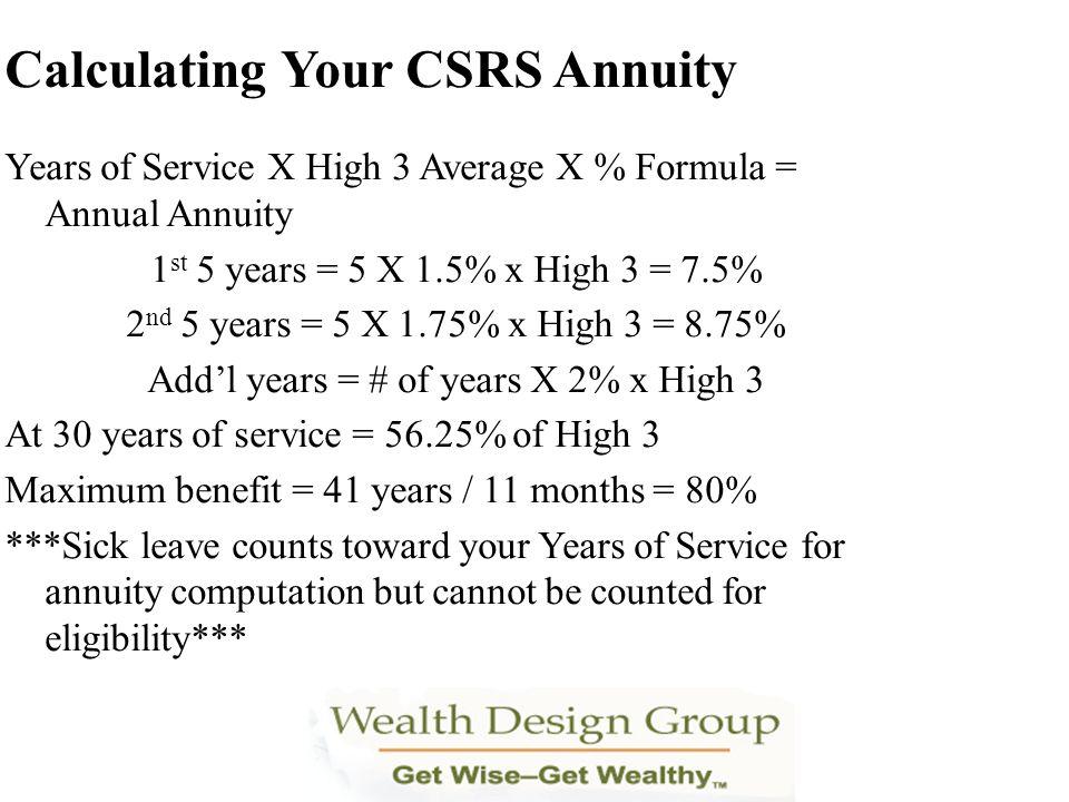 Years of Service X High 3 Average X % Formula = Annual Annuity 1 st 5 years = 5 X 1.5% x High 3 = 7.5% 2 nd 5 years = 5 X 1.75% x High 3 = 8.75% Addl