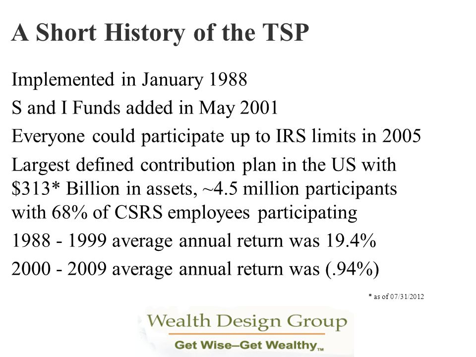 Implemented in January 1988 S and I Funds added in May 2001 Everyone could participate up to IRS limits in 2005 Largest defined contribution plan in t