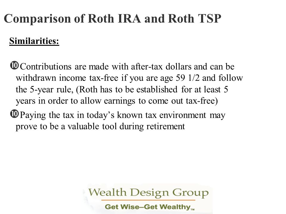 Similarities: Contributions are made with after-tax dollars and can be withdrawn income tax-free if you are age 59 1/2 and follow the 5-year rule, (Ro