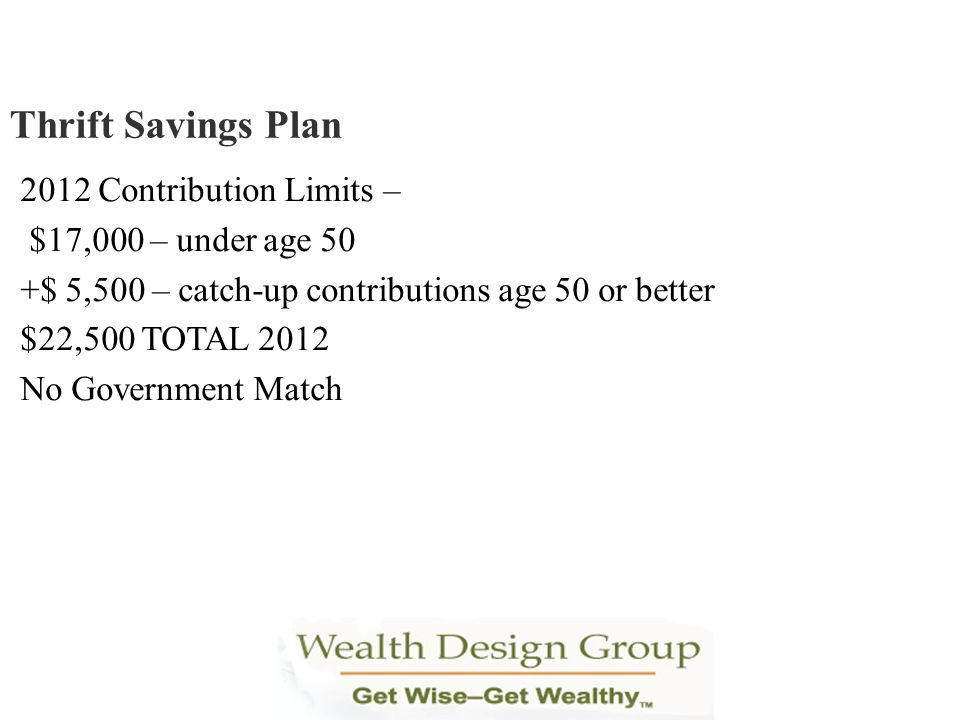 2012 Contribution Limits – $17,000 – under age 50 +$ 5,500 – catch-up contributions age 50 or better $22,500 TOTAL 2012 No Government Match Thrift Sav