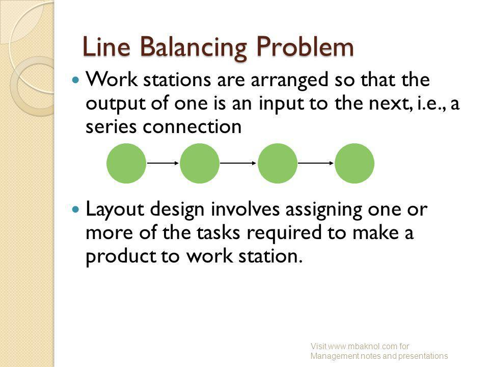 Line Balancing Problem Work stations are arranged so that the output of one is an input to the next, i.e., a series connection Layout design involves