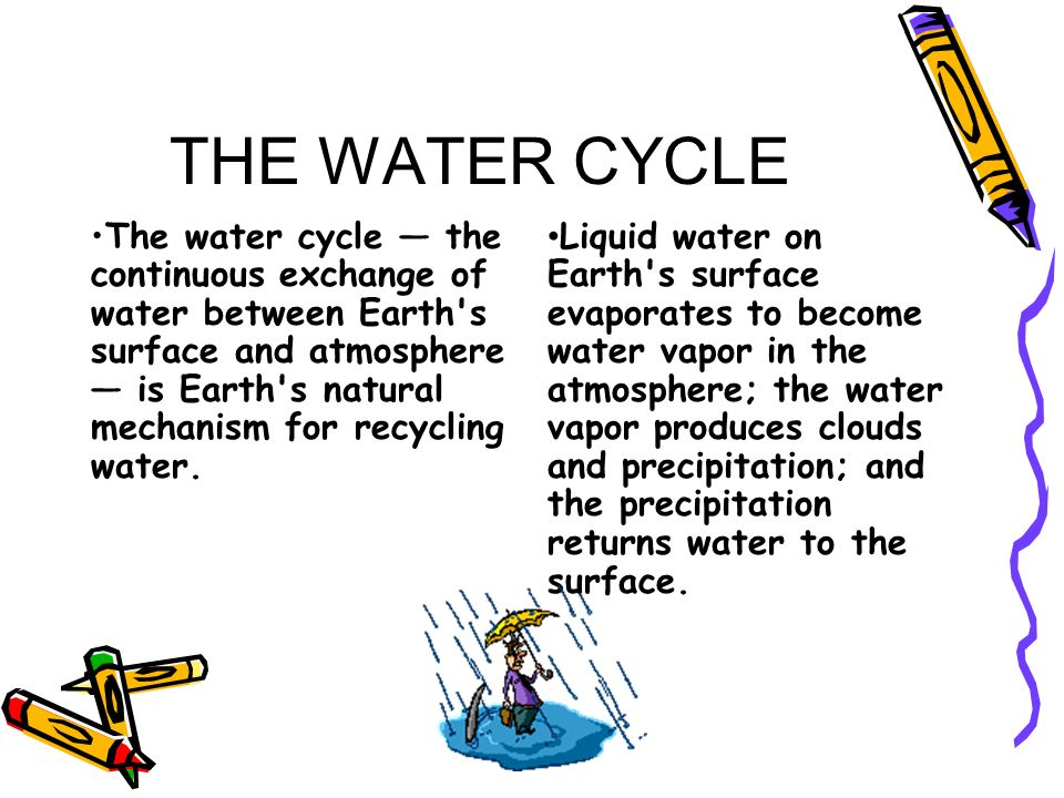 THE WATER CYCLE The water cycle the continuous exchange of water between Earth's surface and atmosphere is Earth's natural mechanism for recycling wat