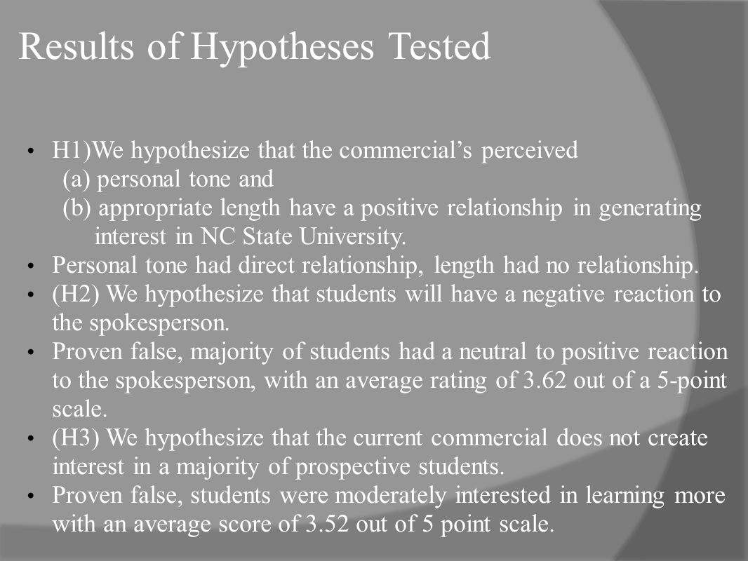 Results of Hypotheses Tested H1)We hypothesize that the commercials perceived (a) personal tone and (b) appropriate length have a positive relationship in generating interest in NC State University.