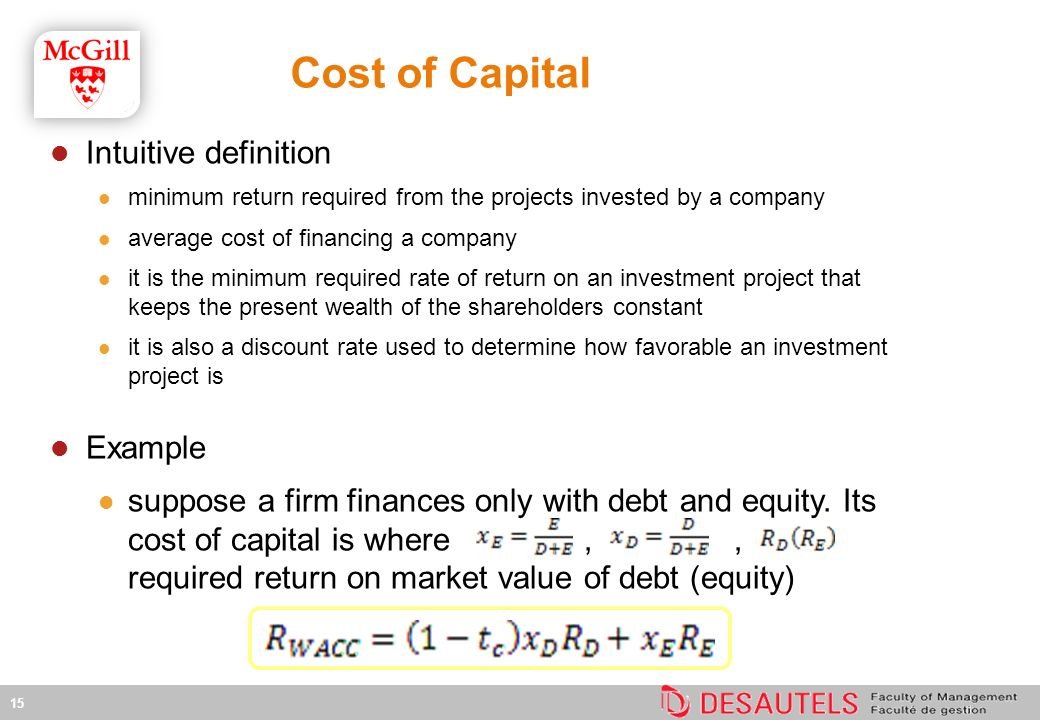 Cost of Capital Intuitive definition minimum return required from the projects invested by a company average cost of financing a company it is the minimum required rate of return on an investment project that keeps the present wealth of the shareholders constant it is also a discount rate used to determine how favorable an investment project is Example suppose a firm finances only with debt and equity.